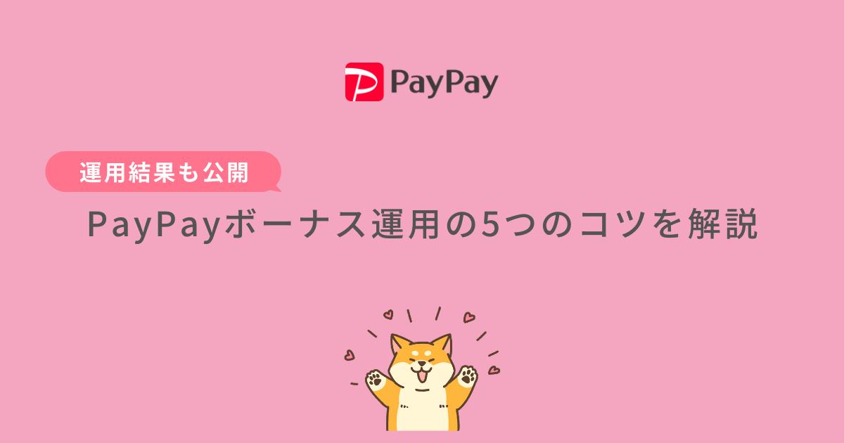 PayPayのボーナス運用の5つのコツを解説【運用結果も公開】